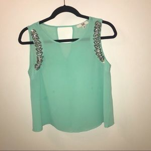 Ya Los Angeles Tops - Light Mint Sheer Top with Jeweled Neckline Size S